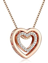 Amazon rose gold necklaces women jewellery murtoo always in my heart necklace with rose gold plated double heart pendant necklace with swarovski aloadofball Gallery