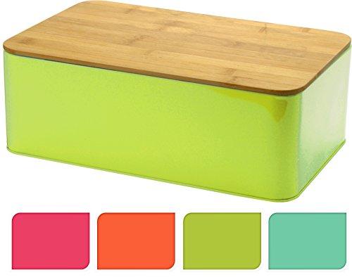 Brotbox TRENDY mit Bambus Schneidebrett - Brotkasten Brotdose Brotaufbewahrung 32x21x12 Olivgrün