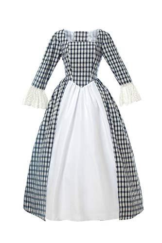 Erwachsene Renaissance Für Kostüm Bauer Damen - Nuoqi Damen American Pioneer Colonial Prairie Kleid Civil War Viktorianisches Schottenkaro Kleid Mittelalter Kostüm - - US 16W
