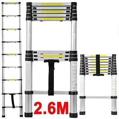 Insasta 2.6M Telescopic Aluminum Ladder Extendable Folding Step Ladder