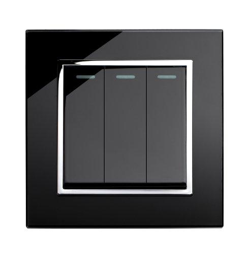 Retrotouch RTS2005 Designer-Lichtschalter 3-fach mechanisch schwarz