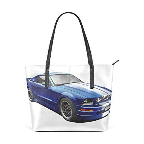 American Auto Racing Car Fashion Leder Tote Schultertasche Handtasche für Damen Mädchen (Tote Halloween Oma)