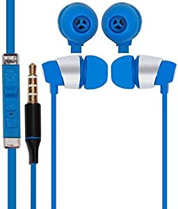 Mobile Link In-ear Flat Wired Headphone/Earphone/Stereo Headphone (Blue) with High Quality Sound/Deep Bass 3.5MM Jack Compatible for Xolo A1010