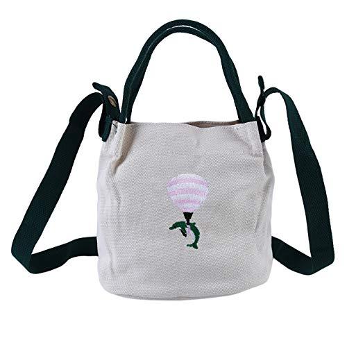 ZALING Damen Canvas Tote Handtaschen Casual Schultertasche Weiß -