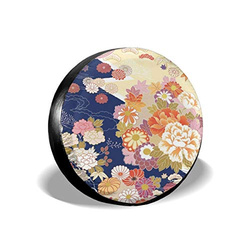 New Hats Traditional Kimono Motifs Composition Asian Ethnic Floral Patterns Vintage Artwork Tire Cover Waterproof for Trailer RV SUV Truck Camper Travel Trailer Accessories 15 Inch Kimono Hat