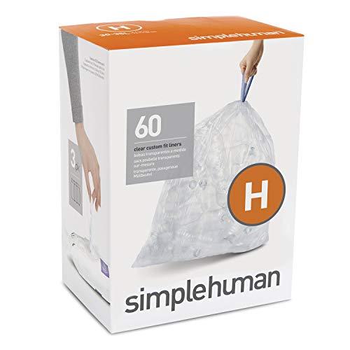 simplehuman CW0286 Code H passgenaue, 3 x Packung mit 20 (60 Müllbeutel), durchsichtiger Kunststoff, Plastic - Durchsichtigen Kunststoff-beutel