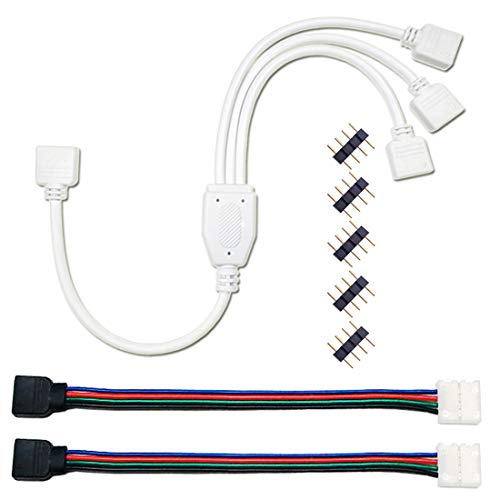 Liwinting 4 polig Häfen RGB LED 1 zu 3 Splitter Verlängerung Kabel + 2 Stück RGB LED Strip Verbinder 4 polig 10mm LED Lichtstreifen Schnellverbinder, Frei 5 x 4 polig Männlich zu Männlichen Verbinder 3 Splitter
