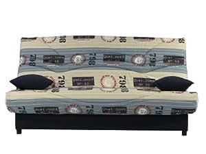 Clic Clac 130 x 190 cm SURF Matelas Sofaflex 13 cm Tissu beige et bleu