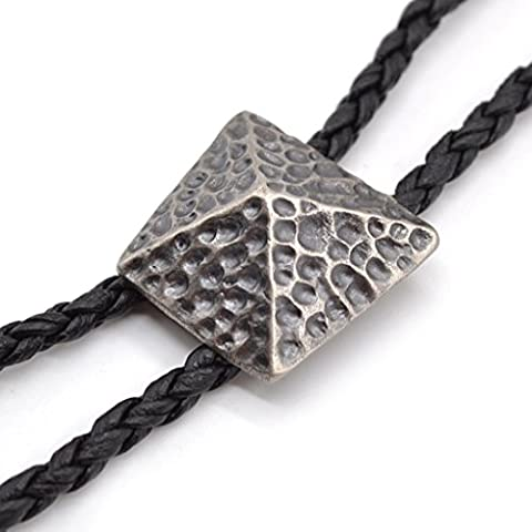Sharplace Vintage Geometric Pyramid Bolo Bola Tie Indian Western Cowboy Necktie PU Leather Necklace 1M - Silver,