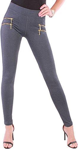 BD Damen High Waist Stretch Hose Jeggings Röhrenhose in schwarz, grau, weiß, blau oder beige mit Zierzippern bis Übergröße (46/XXXL, Blaugrau)