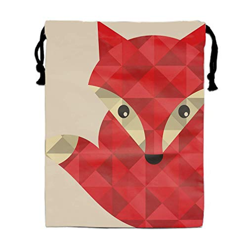 Naiyin Little Red Fox Made of Triangles Print Drawstring Bag for Kids Party Favors Supplies Backpack Gym