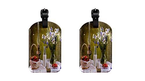 Platzierung des Esstisches PU-Leder-Gepäcketikett Koffer, verstellbares Lederband Kratzfest Etikett, stilvolles Design Packung mit 2 Stück -