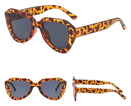 WSKPE Sonnenbrille Cat Eye Sonnenbrille Gradient Gläser Kunststoff Sechskant Sonnenbrille Uv400 Leopard Frame Streuscheibe Schwarz