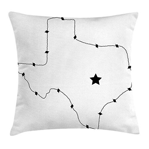 ERCGY Texas Star Throw Pillow Cushion Cover, USA State Map with Barbed Wire Pattern Monochrome Border Control Image, Decorative Square Accent Pillow Case, 18 X 18 inches, Black and White