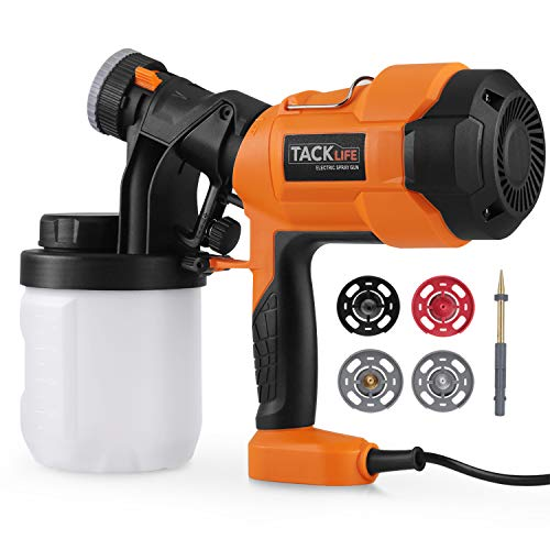Paint Sprayer, Tacklife SGP15AC 400W Electric Spray Gun with 4 Spray Patterns, HVLP Hand Held Spray Gun System, Fence Sprayer, 800 ml / min, with 3 Nozzles, 900 ml Paint Container