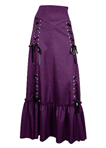 Vielseitig, Gothic/Steampunk Stil Rüschenrock mit Korsett Schnürung in Schwarz oder Burgund. Gr 34-54 Violett