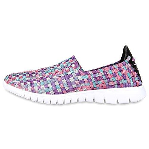 Damen Slip-ons Glitzer Sneakers Helle Sohle Slipper Metallic Lila Rosa