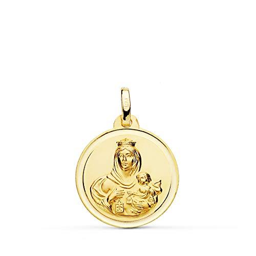 Medalla Nuestra Señora del Carmen. Colgante Virgen. Oro 18 Kilates Bisel 18mm - Grabado personalizado