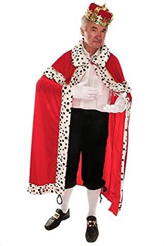 Königsumhang rot-weiß für Herren | Einheitsgröße | 1-teiliges Mittelalter Kostüm | Märchen Faschingskostüm für Männer | Prinzenkostüm für Karneval