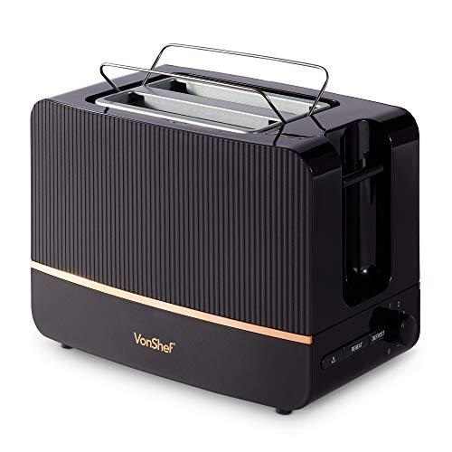 VonShef Automatik Toaster für 2 Scheiben 870W - 6 Bräunungsstufen, Entnehmbares Krümelfach, Brotschlitz 32 mm - Auftau-, Aufwärm-, Abbruchfunktion - Schwarz & Kupfer