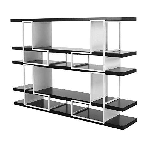 Bibliotheque modulable style contemporain en métal et mdf laqué brillant blanc et noir - l 172 cm