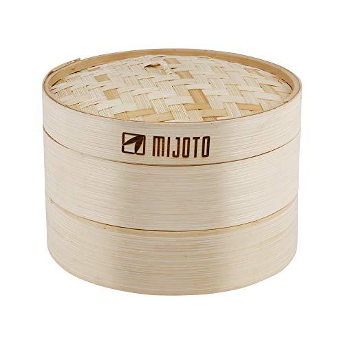MIJOTO Bambus Dämpfkorb - Dämpfeinsatz für Dim Sum, Dumplings, Gemüse & Fisch - Traditioneller Bambusdämper für die Asiatische Küche