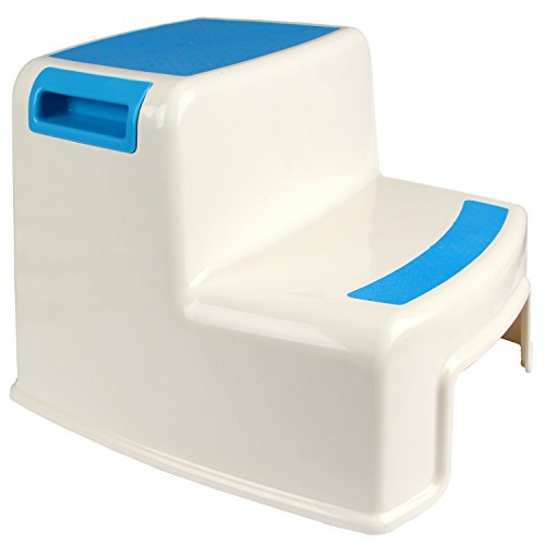 Stuhl Hocker Schritt (Yier Plastik Bad Kind 2 Stufen Hocker für Küche Schritt Hocker Kinder 2 Schritte für WC, weiß)