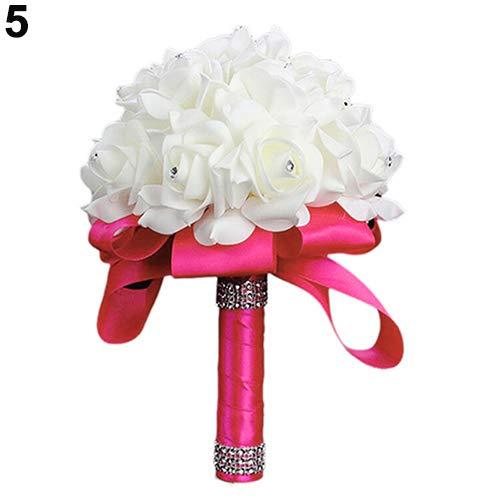 1bouquet da sposa sposa damigella d' onore strass decor schiuma artificiale fiore kaarifirefly, rose red, taglia unica