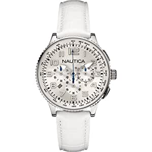 Nautica Women's Quartz Watch with White Dial Chronograph Display and White Leather Strap A22598M