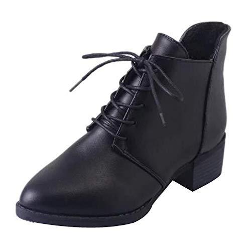 Ansenesna Stiefeletten Damen Schwarz Mit Absatz Leder Schuhe Frauen Blockabsatz Vintage Elegant Zum Schnüren Boots (35, Schwarz)