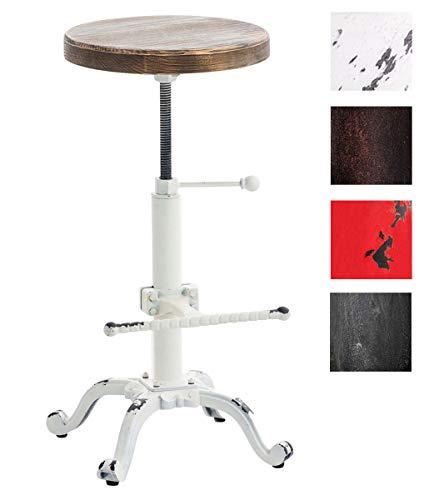 CLP Barhocker Carson im Industrial Look I Thekenhocker mit Holzsitz I Metallhocker mit Verstellbarer Fußstütze Antik Weiß