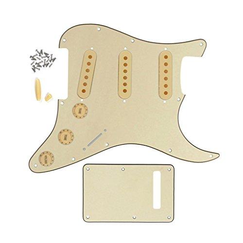 FLEOR Set of Strat Gitarre Pickguard SSS-Stil/Rückenplatte/48mm 50mm 52mm Pickup-Kappen/2t1V Einstellknopf/Switch Tip/Bar Tip 3ply, cream -