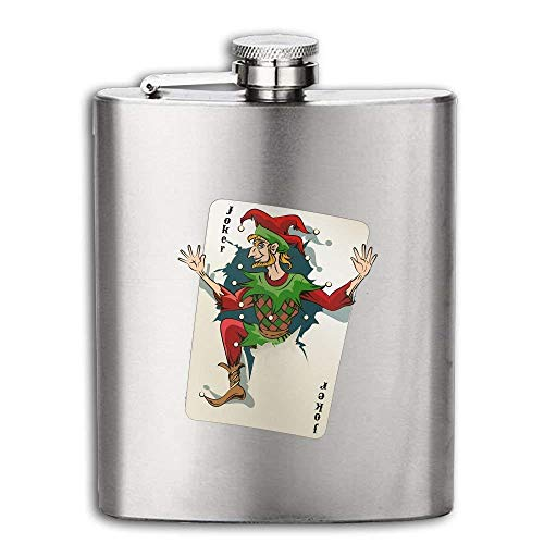 Stainless Steel Flask Joker Jumping Out From Playing Card Wine Bottle With Lid Leak Proof 6-8 Ounce