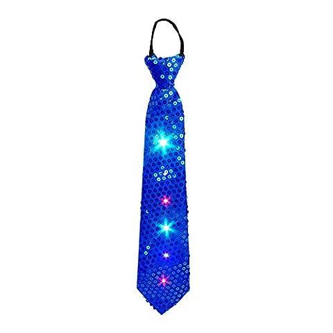 Cravate de fête, DAXIN a mené la cravate de paillettes avec les lumières clignotantes colorées pour la soirée, rave, costume de fantaisie de robe et Festival