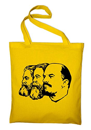 Marx Engels Lenin DDR CCCP Jutebeutel, Beutel, Stoffbeutel, Baumwolltasche, natur Gelb