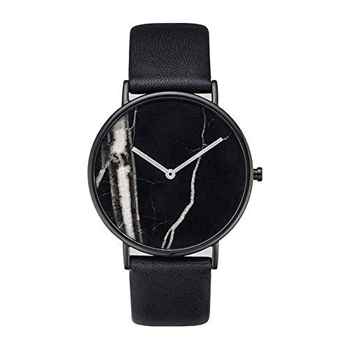 TrifyCore Reloj de Cara de Moda de mármol Paquete de Cara Blanca de Cuero Negro 1 (con Cargo)