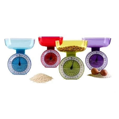 Guilty Gadgets ® Bilancia da Cucina retrò – 5000 g 5 kg Peso Cibo, Ciotola di miscelazione, Bilancia da Cucina per Aggiungere e pesare elettrodomestici, metrica – assortita – 4 Colori