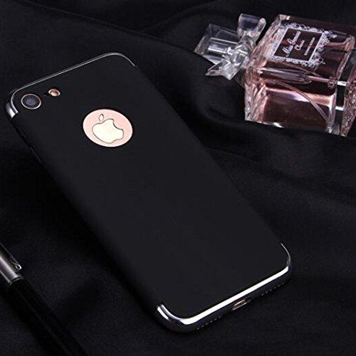 iPhone 7 Plus Schutzhülle,SUNAVY 3-in-1 Überzug+PC Anti-stoß Ultradünne harte Tasche Schale Zubehör Gehäuse Rahmen Etui Hülle Case für Apple 7Plus,5.5zoll,Schwarz Schwarz