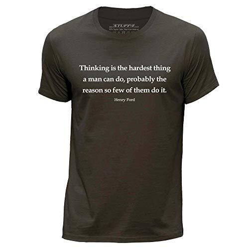 Stuff4 Herren/XXX Groß (3XL)/Dunkelbraun/Rundhals T-Shirt/Henry Ford Zitat