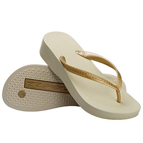 Hotmarzz Chanclas para Mujer Zuecos Sandalias Plataforma Cuña de Verano Playa Size 40 EU, Beige
