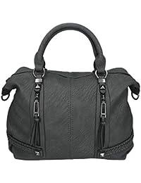 fdcfe2cc5 Damen Handtasche Milano 3 Henkeltasche Umhängetasche mit Reißverschluss,  Schulterriemen und Zwei…