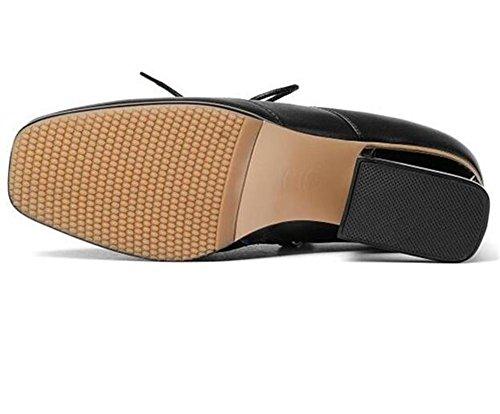Scarpe da donna Stringate in pelle con tacco largo Oxford Court Office Size36To41 Black