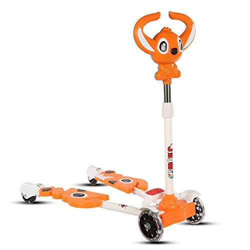 TOOSD Kinder vierrädern Frosch Roller Musik Schere Twisted Swing Sliding Flash Spielzeugauto 2-9 Jahre alt,B