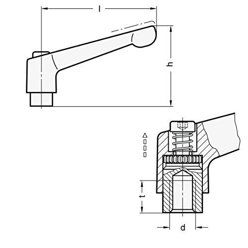 /50/ Strukturmatt /Black Ganter Standard Elements Adjustable Lever with Stainless Steel Screw Clamp/ /Black /108/ Green 300.1/