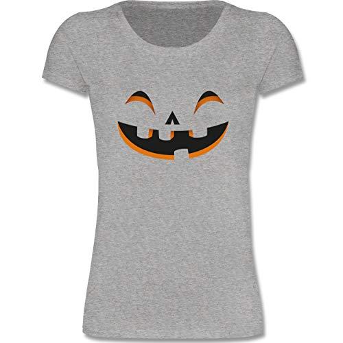 Karneval & Fasching Kinder - Kürbisgesicht Kostüm - 98-104 (3-4 Jahre) - Grau meliert - F288K - Mädchen T-Shirt