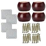 Sourcingmap - Patas redondas de madera maciza para muebles, sofás, sillones, camas, armarios, patas de repuesto (4 unidades)