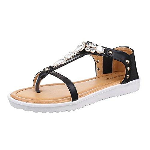 Damen Schuhe, 1021-28, SANDALEN, ZEHNENTRENNER MIT DEKOSTEINCHEN, Synthetik in hochwertiger Lederoptik , Schwarz, Gr (Junior Mints Kostüm)