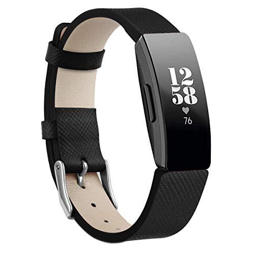 DYQband Lederbänder Kompatibel mit Fitbit Inspire und Fit bit Inspire HR Armband,Ersatzbänder aus echtem Leder Armband Uhrenarmband Zubehör für Frauen Männer Großes Armband