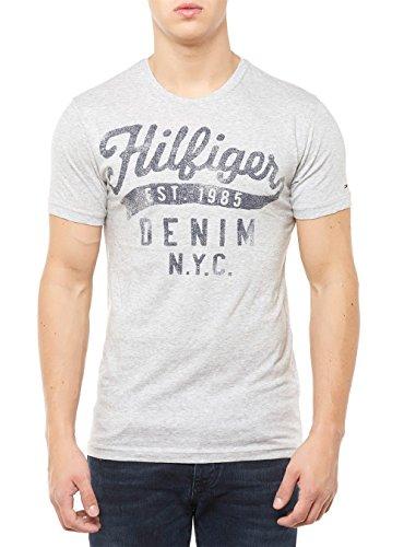 Hilfiger Denim Herren Thdm Cn T-Shirt S/s 10 Grau (Lt Grey Htr 038)