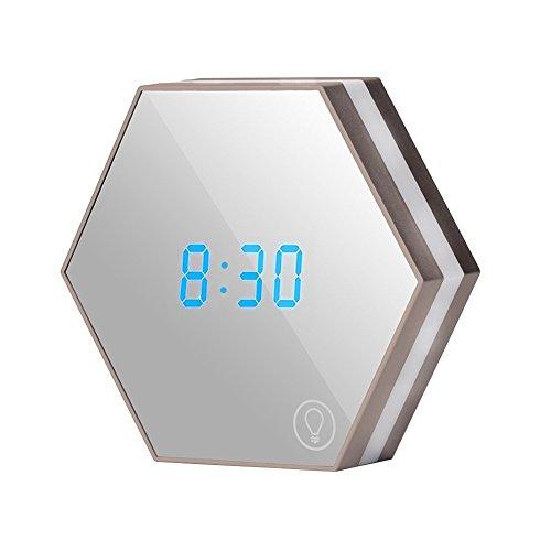 ZREAL Réveil horloge numérique,LED Miroir Réveil, 3 en 1 Réveil Horloge Digitale Réveil horloge numérique miroir avec veilleuse tactile LED